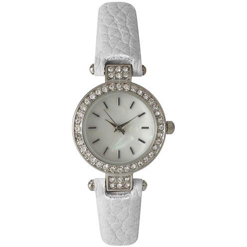 Olivia Pratt Womens Rhinestone Bezel Petite White Leather Watch 14829