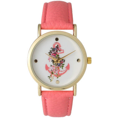 jcpenney.com | Olivia Pratt Womens Floral Anchor Dial Coral Leather Watch 15004