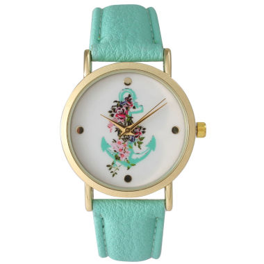 jcpenney.com | Olivia Pratt Womens Floral Anchor Dial Mint Leather Watch 15004