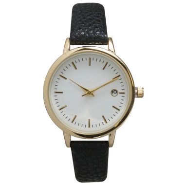 jcpenney.com | Olivia Pratt Womens Date Display Dial Black Leather Watch 15421