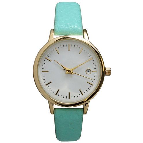 Olivia Pratt Womens Date Display Dial Mint Leather Watch 15421