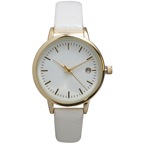 Olivia Pratt Womens Date Display Dial White Leather Watch 15421
