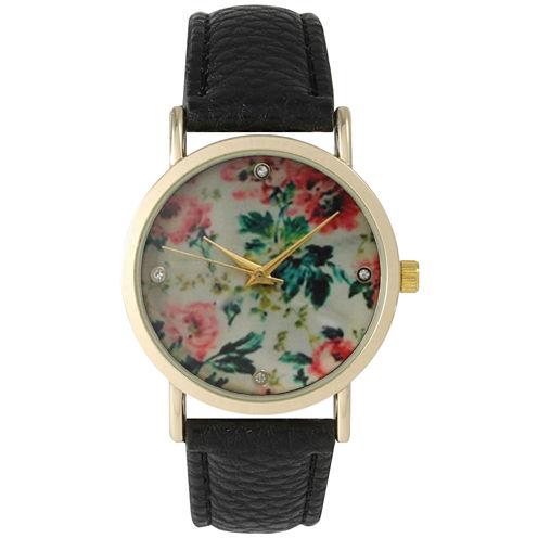 Olivia Pratt Womens Floral Rhinestone Accent Dial Black Leather Watch 14977