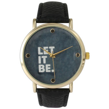 jcpenney.com | Olivia Pratt Women's 'Let It Be' Dial Black Leather Watch 14720