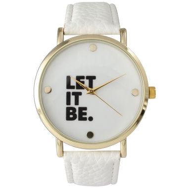 jcpenney.com | Olivia Pratt Women's 'Let It Be' Dial White Leather Watch 14720