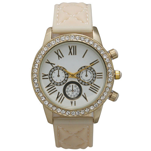 Olivia Pratt Womens Rhinestone Bezel Decorative Dial Cream Quilted Leather Watch 15334
