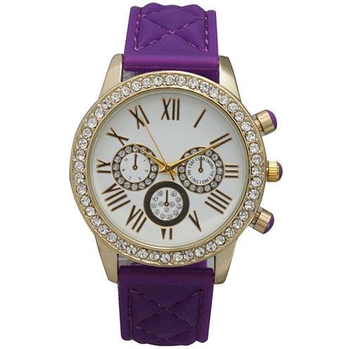 Olivia Pratt Womens Rhinestone Bezel Decorative Dial Purple Quilted Leather Watch 15334