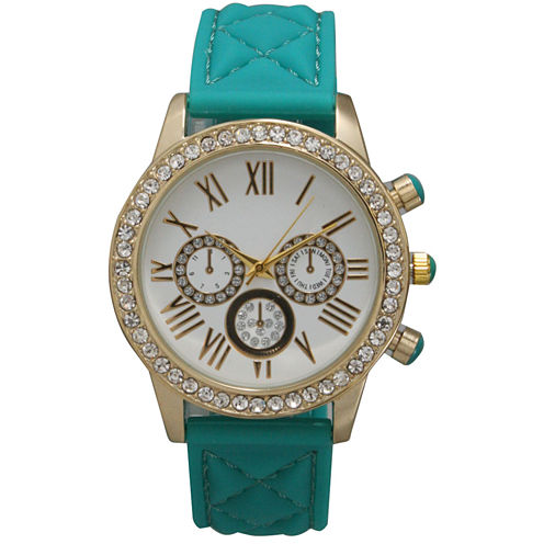 Olivia Pratt Womens Rhinestone Bezel Decorative Dial Teal Quilted Leather Watch 15334