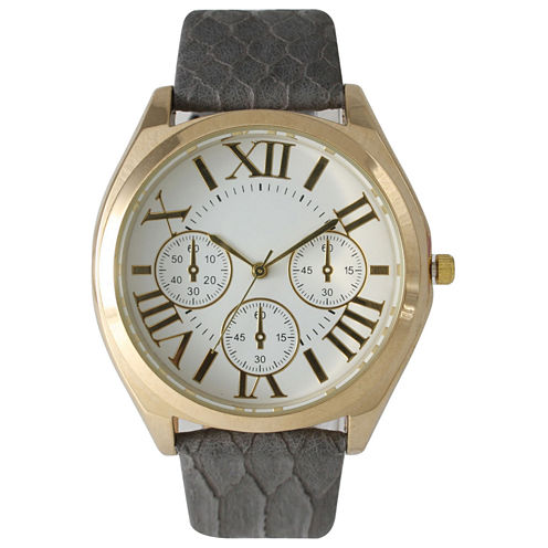 Olivia Pratt Womens Decorative Chronograph Dial Gray Croc-Embossed Leather Watch 26328