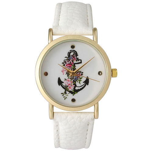 Olivia Pratt Womens Floral Anchor Dial White Leather Watch 15004