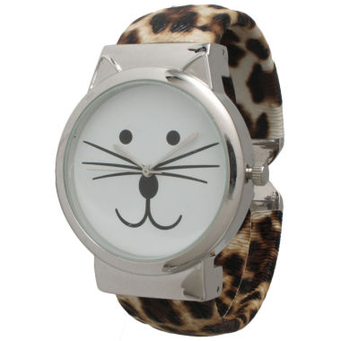 jcpenney.com | Olivia Pratt Womens Tomcat Dial Cheetah Print Leather Cuff Watch 13895