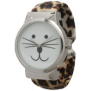 Olivia Pratt Womens Tomcat Dial Cheetah Print Leather Cuff Watch 13895
