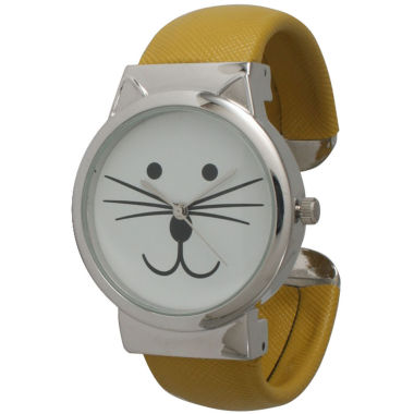 jcpenney.com | Olivia Pratt Womens Tomcat Dial Mustard Leather Cuff Watch 13895