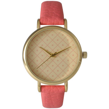 jcpenney.com | Olivia Pratt Womens Checkered Dial Coral Petite Leather Watch 14543