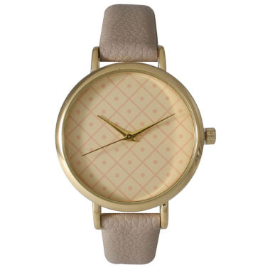 jcpenney.com | Olivia Pratt Womens Checkered Dial Gray Petite Leather Watch 14543