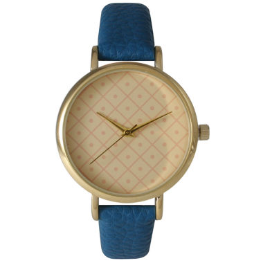 jcpenney.com | Olivia Pratt Womens Checkered Dial Royal Petite Leather Watch 14543