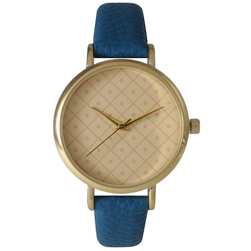 Olivia Pratt Womens Checkered Dial Royal Petite Leather Watch 14543