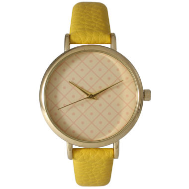 jcpenney.com | Olivia Pratt Womens Checkered Dial Yellow Petite Leather Watch 14543
