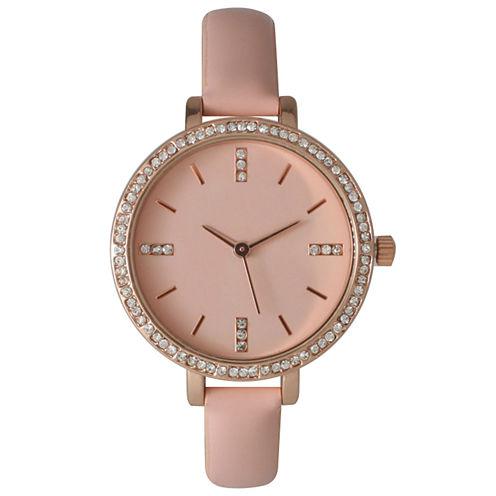 Olivia Pratt Womens Rhinestone Bezel Rhinestone Dial Light Pink Leather Watch 15321