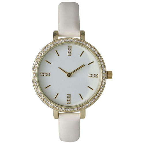 Olivia Pratt Womens Rhinestone Bezel Rhinestone Dial White Leather Watch 15321