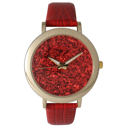 Olivia Pratt Womens Colored Metallic Stone Dial Red Leather Watch 26359Red