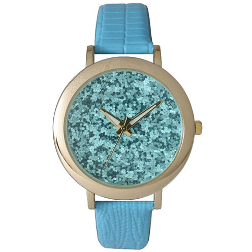 Olivia Pratt Womens Colored Metallic Stone Dial Turquoise Leather Watch 26359Turquoise