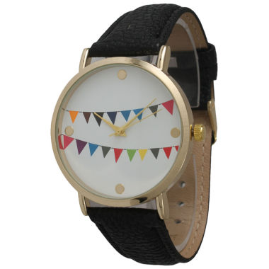 jcpenney.com | Olivia Pratt Womens Multi-Colored Flags Dial Black Leather Watch 14226Black