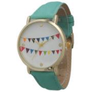Olivia Pratt Womens Multi-Colored Flags Dial Mint Leather Watch 14226Mint