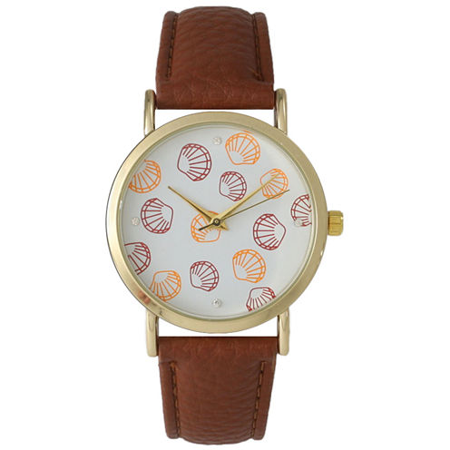 Olivia Pratt Womens Colored Shell Dial Brown Leather Watch 14841Brown