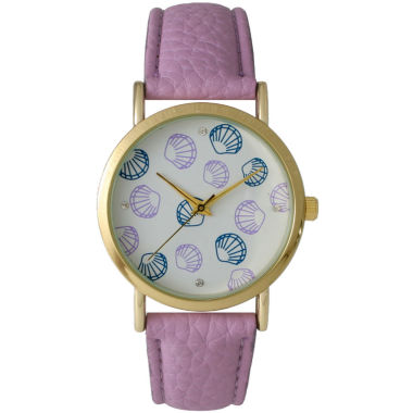 jcpenney.com | Olivia Pratt Womens Colored Shell Dial Lavender Leather Watch 14841Lavender