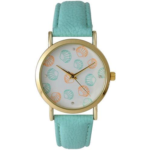 Olivia Pratt Womens Colored Shell Dial Mint Leather Watch 14841Mint