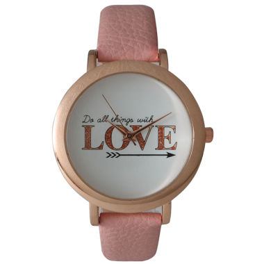 jcpenney.com | Olivia Pratt Womens 'Do All Things With Love' Dial Rose Pink Leather Watch 26358Rose Pink