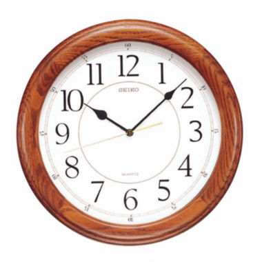 jcpenney.com | Seiko® White Dial Dark Brown Solid Oak Decorative Wall Clock Qxa129Blh