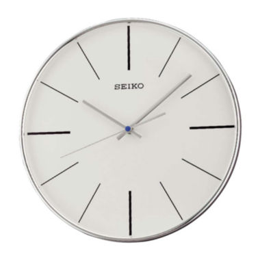 jcpenney.com | Seiko® Silver Tone Quiet Sweep Wall Clock Qxa634Alh