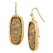 Bleu™ Gold-Tone Brown Drop Earrings