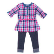 Little Lass® 2-pc. Plaid Top and Jeggings Set - Preschool Girls 4-6x