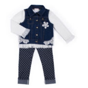 Little Lass® 3-pc. Denim Vest Set - Preschool Girls 4-6x