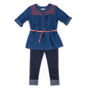 Little Lass® 2-pc. Heart Top and Jeggings Set - Preschool Girls 4-6x