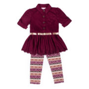 Little Lass® 2-pc. Berry Faux-Suede Top and Pants Set - Preschool Girls 4-6x