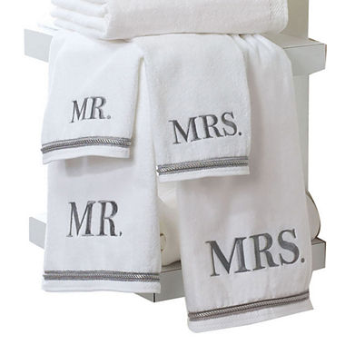 Avanti mr mrs white bath towels for Mr and mrs spa