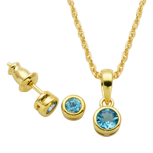Girls 2-pc. Blue Topaz 18K Gold Over Silver Jewelry Set