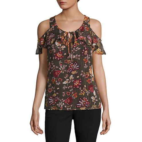 by&by Short Sleeve Round Neck Woven Floral Blouse-Juniors