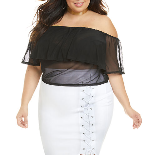 Fashion To Figure Elisa Mesh Off Shoulder Crop Top-Plus