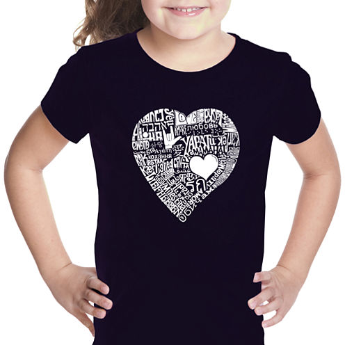 Los Angeles Pop Art Love In 44 Different Languages Short Sleeve Graphic T-Shirt Girls