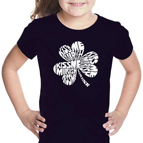 Los Angeles Pop Art Kiss Me I'M Irish Short Sleeve Graphic T-Shirt Girls