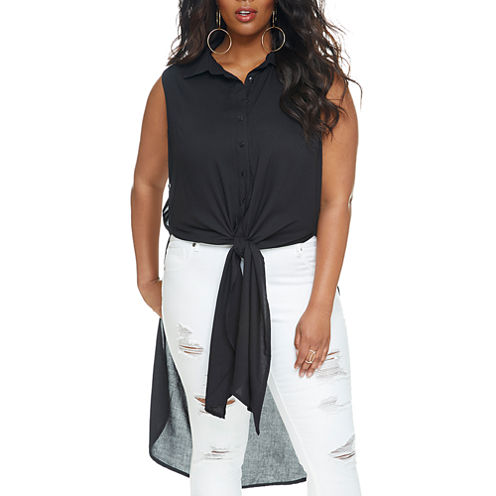 Fashion To Figure Angel Button & Tie Front Tunic-Plus