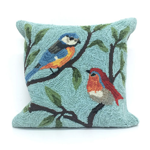Liora Manne Frontporch Birds On Branches Square Outdoor Pillow