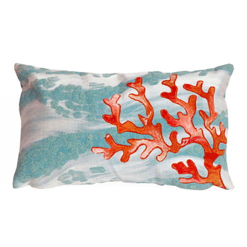 Liora Manne Visions Iii Coral Wave Rectangular Outdoor Pillow