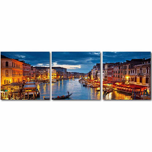 Baxton Studio Early Evening Venetian Canal Mounted3-pc. Photography Print Triptych Set