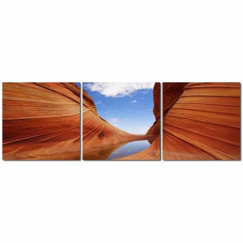 Desert Sandstone Mounted  3-pc. Photography PrintTriptych Set